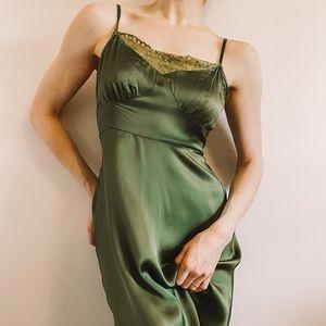 Anthropologie Olive Green Silky Slip Dress | M
